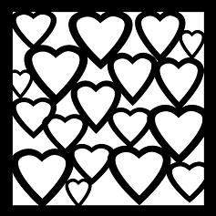 All Hearts Stencil  8x8 , or 200 x 200mm , min buy 3
